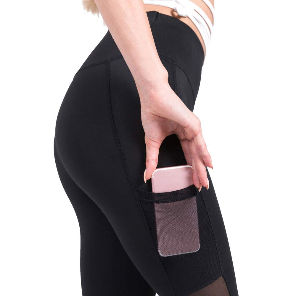 Nevera Women's Yoga Pants Workout Sports Leggings with Pockets Tummy Control Soft Pants Black