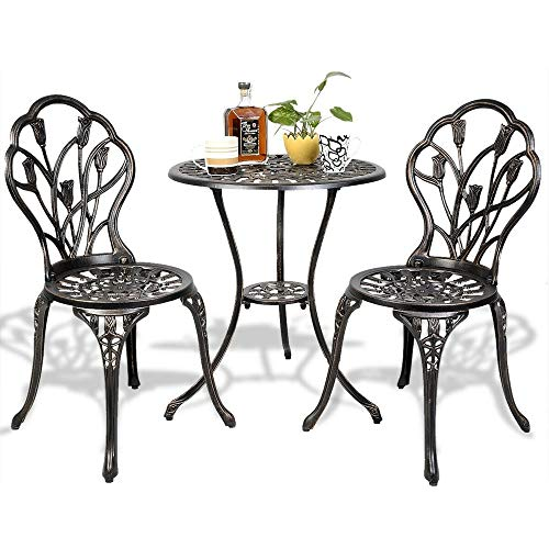 (Richman789 Antique Style Cast Aluminum Outdoor Table and Chair Set Flower Detail Coffee Patio Garden Bistro Furniture 3 pcs)