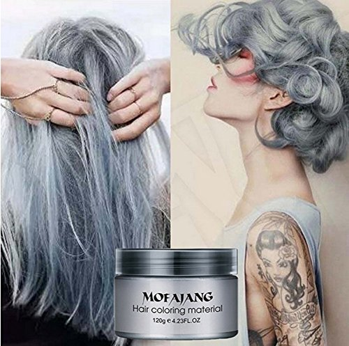MOFAJANG Silver Grey Hair Color Wax, Instant Hairstyle Cream 4.23 oz, Temporary Natural Hair Wax for Party, Cosplay, Halloween, Daily use, Date, Clubbing (Silver Grey)