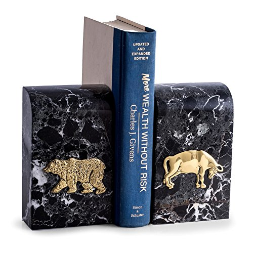 (KensingtonRow Home Collection BOOKENDS -ICONS OF WALL STREET MARBLE BOOKENDS - BULL & BEAR BOOK ENDS)