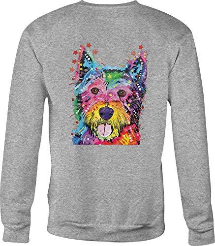 (Hoody Crewneck Sweatshirt Westie Terrier for Men or Women - Large Gray)