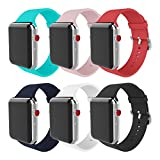 MITERV for Apple Watch Band 38mm 42mm Soft Silicone Replacement iWatch Bands for Apple Watch Series 3 Series 2 Series 1 (New 6 Colors, Case Size: 42mm)