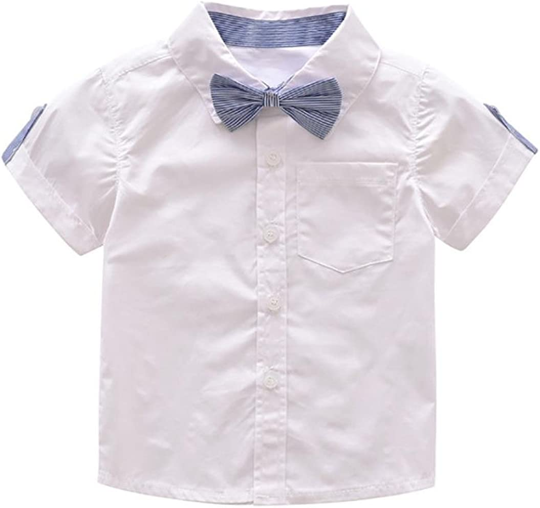Suspender Short with Bow Tie Toddler Jumpsuit Outfits Clothes Set for 1-4 Years Old Baby Boy Short Sleeve Gentleman Formal Shirt Wanshop Boys Clothing Sets