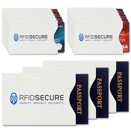 15 RFID Blocking Sleeves (12 Credit Card & 3 Passport Protectors) Top Identity Theft Protection Travel Case Set. Smart Holders Fit Wallet, Purse & Cell Phones. Shields Radio Frequency (Phone Cards Set)