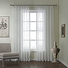 """IYUEGOU Modern Linen Jacquard Solid Sheer Double Pleated Top Curtain With Multi Size Custom 100"""" W x 96"""" L (One Panel)"""