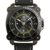 Army Watch [Military Royale] for Men Quartz Strap Black Leather Sport Date Display Luminous,Band 24mm,Brushed Dial