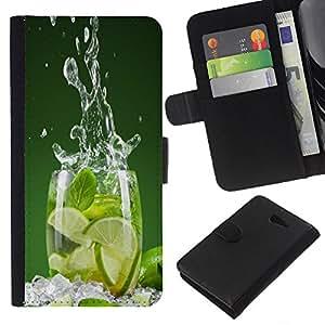 """JackGot ( Lime Splash"""" ) Sony Xperia M2 la tarjeta de Crédito Slots PU Funda de cuero Monedero caso cubierta de piel"""