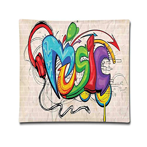 Omgaa Illustration of Graffiti Style Music Lettering Headphones Hip Hop Rhythm Tempo Hipster Concept Home Decorative Throw Pillow Cover for Men Women Girls Boys Kids Children-18 X 18 Inch