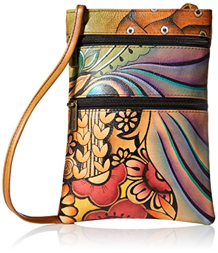 Anuschka Women's Leather Hand Painted Double Zip Travel Crossbody Bag, patchwork garden