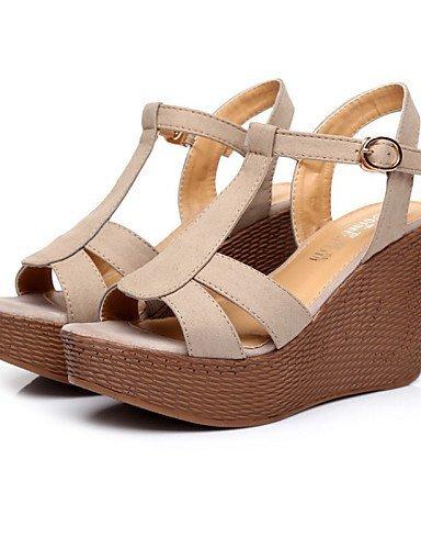 ShangYi Womens Shoes Leather Wedge Heel Wedges / Heels / Slingback / Open Toe Sandals Dress Black / Gray Black
