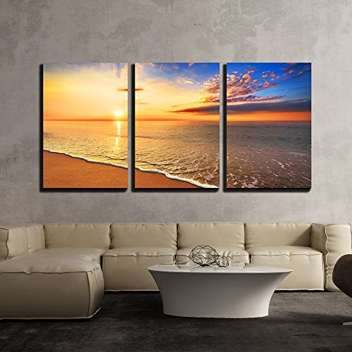 "Wall26 - 3 Piece Canvas Wall Art - Beautiful Tropical Sunrise on the Beach. - Modern Home Decor Stretched and Framed Ready to Hang - 24""x36\""x3 Panels"