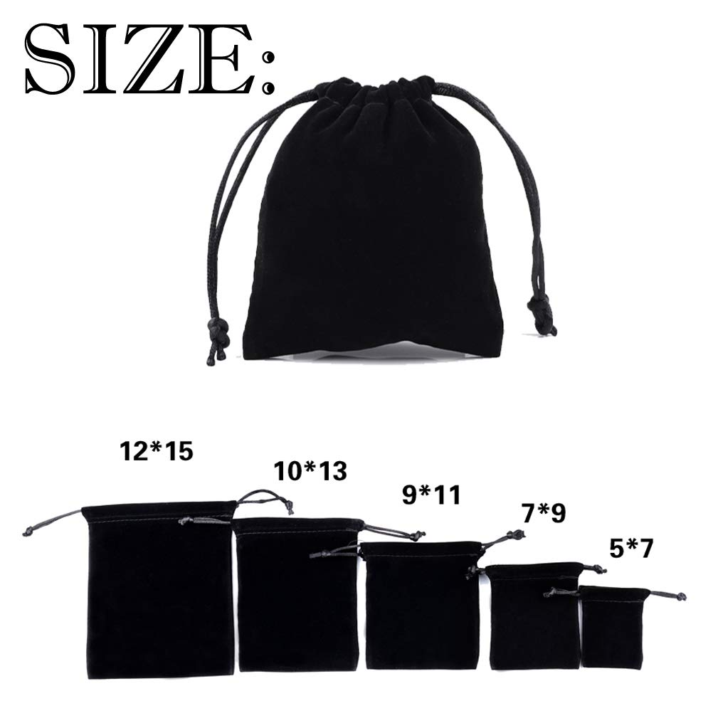 4EAELove Black Velvet Jewelry Pouch Package Drawstring Bags Gift Storage Display Holder Case Organizer 100pc by 4EAELove (Image #2)