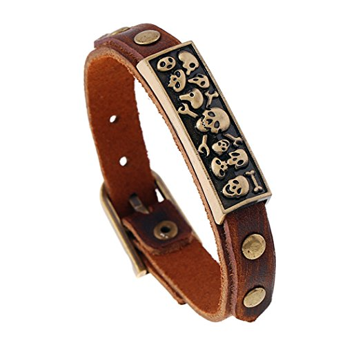 France National Costume Men (MORE FUN Vintage Style Metal Buckle Clasp Handmade Brown Leather Bracelet (Skull))