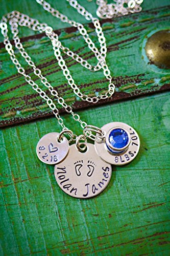 New Baby Stats Necklace - ROI - 3/8, 1/2, and 5/8 inch Discs - Handstamped Sterling Silver Jewelry – Choose a Chain Length - Custom Birthstone Color – Personalized Name – Fast 1 Day Shipping