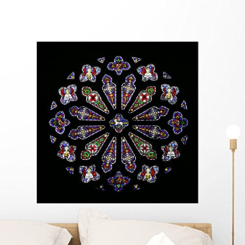 (Wallmonkeys Stained Glass Rose Window Wall Mural Peel and Stick Graphic (24 in H x 24 in W) WM354261)