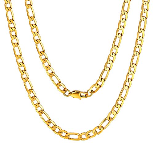 Stainless Steel Gold Chain for Men 18K Gold Plated 6mm Figaro Link Necklace 20 Inch Golden ()