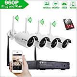 Home Business Wireless Video Security Camera System, with 4 PCS of 960P HD Waterproof Outdoor Indoor WiFi Bullet IP Cameras and 1 PC of 4-Chanel Wireless NVR Kit with 1 TB HDD