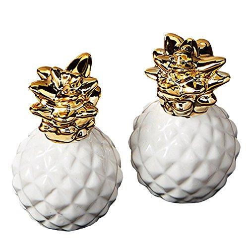 (Design Imports Pineapple Palms Table Linens, Ceramic Salt Pepper Shaker Set, Pineapple)