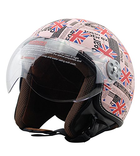 Woljay Leather Motorcycle Vintage Half Helmets Motorcycle Biker Cruiser Scooter Touring Helmet (XL, British flag)