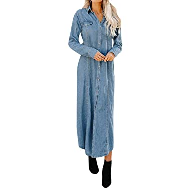 c9113acd8a COGIGI Womens Button Down Denim Dress Sexy Ladies Belt Jeans Long Tops  Shirt Maxi Dress at Amazon Women's Clothing store:
