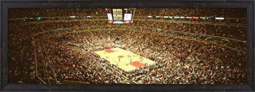 Chicago Bulls, Chicago, Illinois by Panoramic Images Framed Art Print Wall Picture, Espresso Brown Frame, 39 x 14 inches