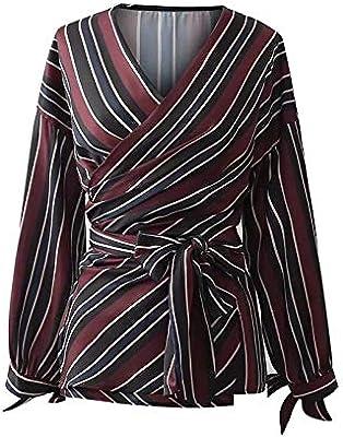 Cnsdy Camisa de Mujer con Cuello en V Satén a Rayas Camisa Anudada Blusa con Cordones Camisa de Manga Larga: Amazon.es: Deportes y aire libre
