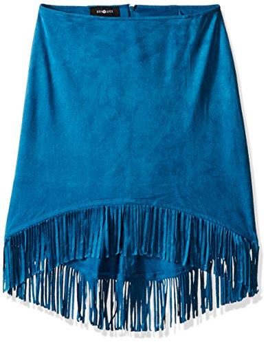 Amy Byer Spandex Skirt (Amy Byer Big Girls' Knit Suede Hi Lo Fringe Hem Skirt, Peacock, Small)
