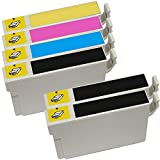 6 Inkfirst® 124 Ink Cartridges Compatible Remanufactured for Epson 124 Black, 124 Cyan, 124 Magenta, 124 Yellow (Moderate Capacity) (1 Set + 2 Black) Stylus NX330 NX420 NX430 NX125 NX127 NX130 NX230 WorkForce 320 323 325 T1241, T1242, T1243, T1244