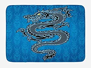 Japanese Dragon Bath Mat, Black Dragon on Blue Tribal Background Year of The Dragon Themed Art, Plush Bathroom Decor Mat with Non Slip Backing, 23.6 W X 15.7 W Inches, Blue Black White