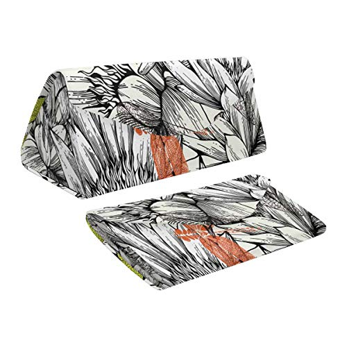 InterestPrint Vintage Water Lilies and Dragonflies Sketchy Foldable Eyeglass Case PU Leather Triangular Sunglasses Boxer