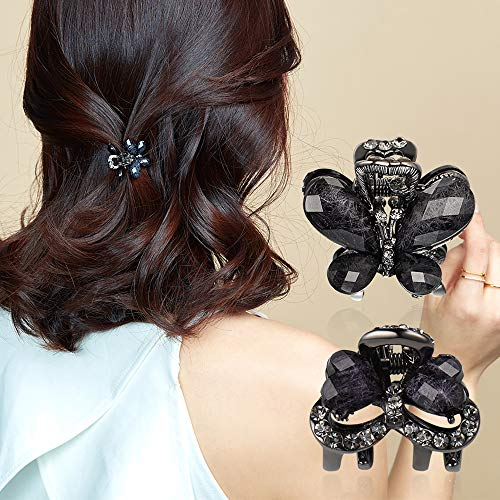 CHIMERA 2Pcs/Set Small Size Hair Claws Elegant Black Rhinestone Hair Clips Side Bangs Hairpins for Women and Girls