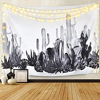 Smurfs Yingda Cactus Tapestry Succulents Tapestry Tropical Plant Tapestry Watercolor Cactus Tapestry Black and White Tapestry for Living Room Bedroom