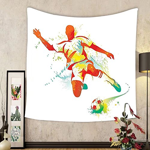 Gzhihine Custom tapestry Ambesonne Sports Decor Collection Soccer Player Kicks the Ball Competitions Paint Splashes Speed Boots Art Print Bedroom Living Room Dorm Tapestry Orange Teal Blue by Gzhihine