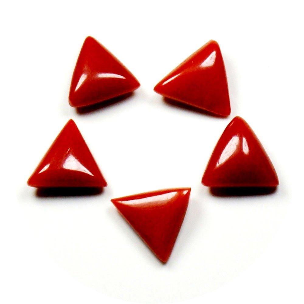 Caratyogi, pierres naturelles en vrac, corail rouge, total 5 carats, lot de 5 piè ces, forme de triangle au prix de gros lot de 5 pièces CYLOTNEW-167