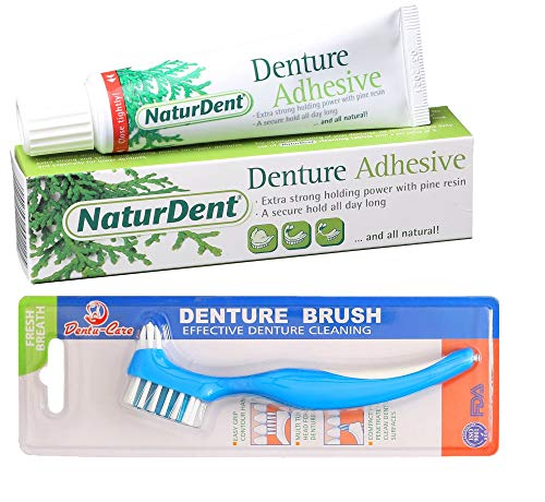 Natural Strong Denture Adhesive NaturDent holds Dentures LONGER and STRONGER NO Zinc NO Petrochemical NO Additives Bundle With Dentu-Care Denture Brush