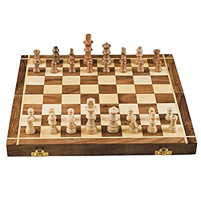 Rusticity Wooden Chess Set with Chess Pieces| Foldable| Handmade | (14 inches)