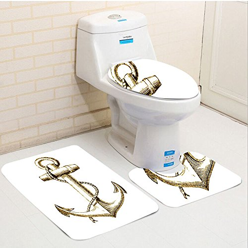 gold foil toilet seat. Keshia Dwete Three Piece Toilet Seat Pad CustomNautical Gold Foil Anchor  Image Be Safe And Toilet Seat Top 10 Best Reviews