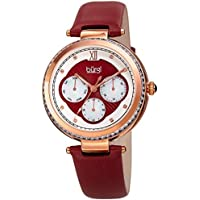 Burgi Women's Quartz Multifunction Crystal & Mother of Pearl Accented Rose-Tone and Red Leather Strap Watch - BUR182RD