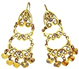 Chico, Women's Vintage 18K Gold / Platinum Plated Indian Fashion Dangle Earrings