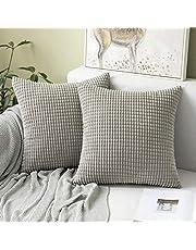 MIULEE Corduroy gooien kussenhoezen zachte pellets solide decoratieve vierkante kussenhoes voor sofa slaapkamer auto