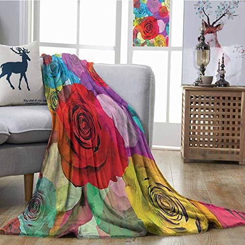 Zmcongz Fashion Throwing Blanket Roses Decorations Collection Various Bright Colorful Roses Background in Modern Pop Art Work Romantic Sensual Flowers Home, Couch, Outdoor, Travel Use W54 xL84 Multi ()