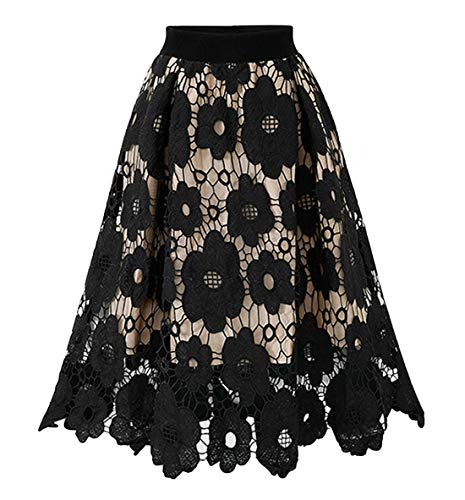 Chartou Womans Vintage Floral Lace Elastic Waist Scalloped A-Line Swing Midi Skirts (Free Size, Black) - Lace Woven Skirt