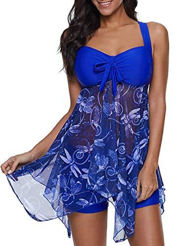 Yanekop Womens Swimdress 2 Piece Swimwear Print Tankini Top Set Swimsuit with Boyshort Bathing Suits(Royal Blue,XL) Boyshort 2 Piece Swimsuit