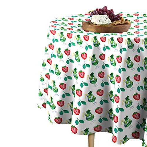 Fabric Textile Products Large Strawberry Mojito Tablecloth 96