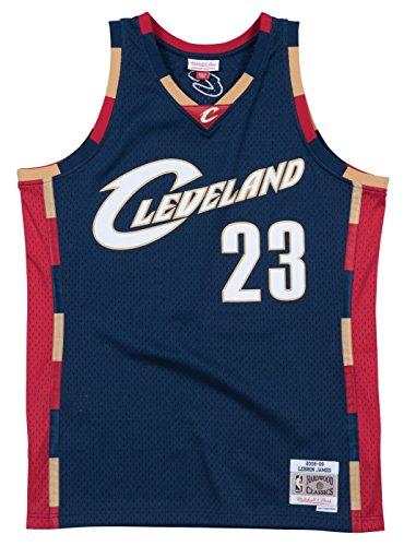 Mitchell & Ness Cleveland Cavaliers Lebron James Mens Mesh Swingman Jersey in Blue (Medium)