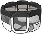 PET LIFE 'All-Terrain' Lightweight Easy Folding Wire-Framed Collapsible Travel Pet Dog Playpen crate, Large, Black And White