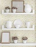 NextWall Diamond Geometric Peel and Stick Wallpaper Decor (Gold and White)