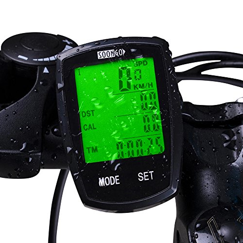 Bicycle Speedometer Wireless Cycling Computer with Cadence Sensor Bike Computer Odometer 32 Multi Function Waterproof LCD Backlight 4-Line Display with Temperature, Calorie, Bicycle A/B, Data (Bike Computer With Cadence)