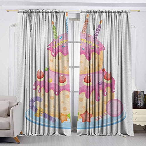 Price comparison product image VIVIDX Doorway Curtain, Kids Birthday, Pastel Colored Birthday Party Cake with Candles and Candies Celebration Image, Room Darkening,  Noise Reducing, W72x63L Inches Pale Pink