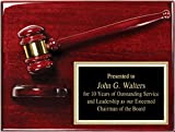 Gavel Plaque, Judge, Court, Attorney, Law, Lawyer, Rosewood High Gloss Award, 9'' x 12''